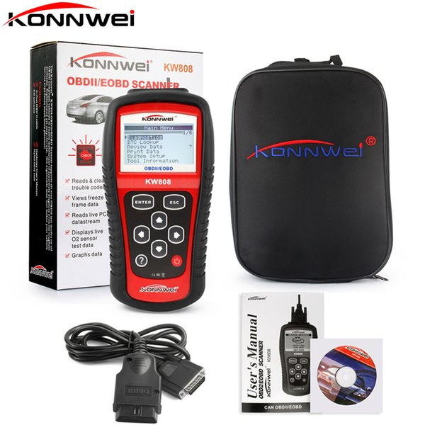 Original KONNWEI KW808 Auto Scanner Live Data Code Reader Engine Control Car Diagnostic Tool for CAN&all current OBD2 protocols
