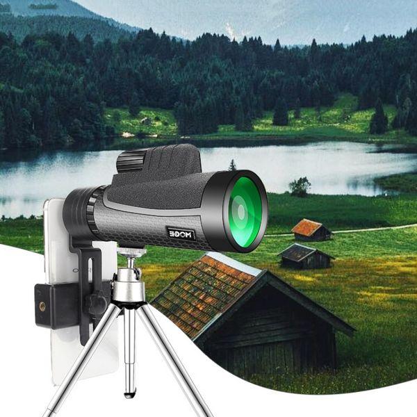 Kuş Gözlem Kamp Yürüyüş İçin Tripod Telefon Klip Adaptörü ile 12x50 Yüksek Güç Monoküler Teleskop Kompakt Spotting Kapsam