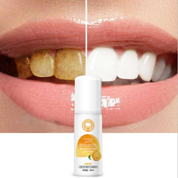 Hohe Qualität Teeth Whitening-Schaum toothpast Mundpflege Remove Stain Dental Bleach Zahn Whiter Orangenduft
