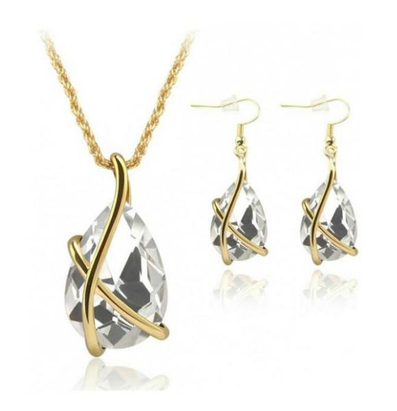 Diamond Crystal Drop Collar Pendientes Conjuntos de Joyas Gold Cage Ear Cuff Colgante Cadenas Joyería de La Boda Regalo para Mujeres