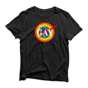 LGBT orgulho gay camiseta orgulho orgulho NASA arco-íris presente de aniversário presente