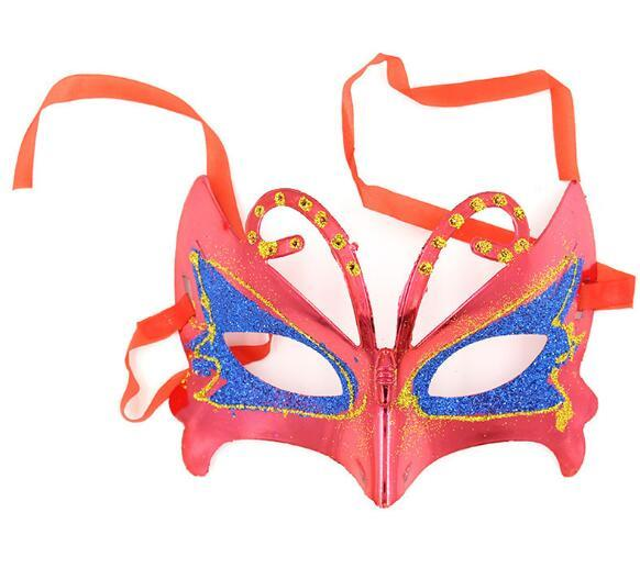 Halloween Ball Party Mask Festival Performance Projects Gold and Pink Painted Butterfly Mask Children's Ball Mask W1213