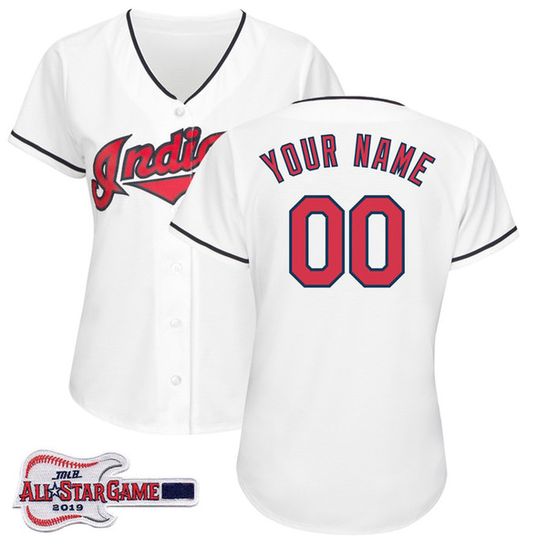 new product 519c7 beb57 2019 Womens Francisco Lindor Jersey Custom Indians 2019 All Star Game Patch  Ricky Vaughn Kenny Lofton Jason Kipnis Ladies Baseball Jerseys From ...