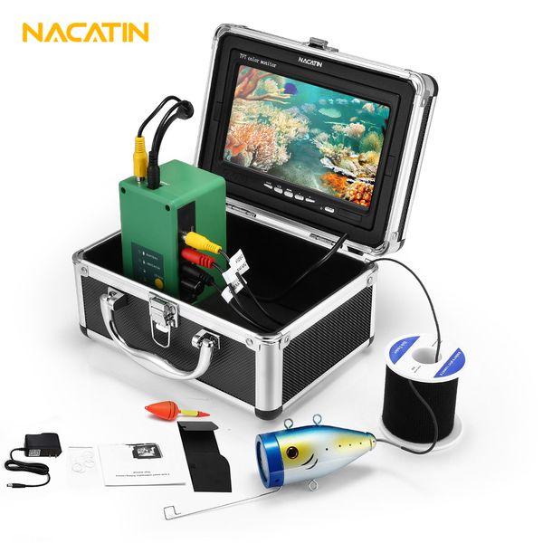 "NACATIN 30pcs LEDs Fish Finder Camera Kit IR 15 / 30 / 50M Underwater DVR 1000TVL 7"" LCD Monitor IP68 Rechargable Fishing Camera"