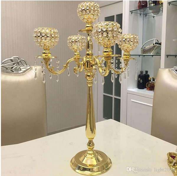 top popular New 75CM Metal Gold Silver Candle Holders 5-Arms With Crystals Stand Pillar Candlestick For Wedding Table Centerpieces Decoration 2021