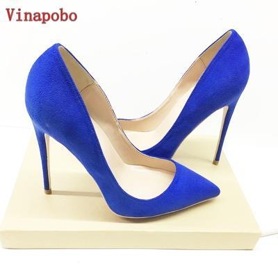 Vinapobo 2019 yeni süet deri kadın ayakkabı pompalar sivri burun yaz ayakkabı sığ zarif parti düğün yüksek topuklu