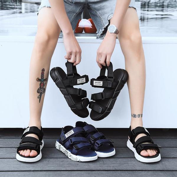 FASHION European Brand designer Sandalsmen Summer Sandals black white BLUE Anti-slipping Quick-drying Outdoor slippers Soft Water Shoe