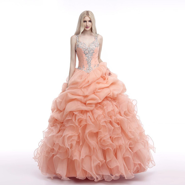 2019 Floor Length Tulle Ball Gown For 15 Years Beaded Quinceanera Dresses Sweet 16 Year Princess Dresses Prom Dresses
