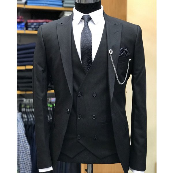 Black Wedding Men Suits for Groom Tuxedos Peaked Lapel Blazer Three Piece Double Breasted Waistcoat (Jacket + Pants + Vest)