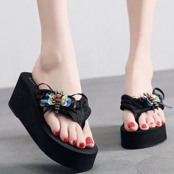 Female Slippers Summer Fashion Wear Seaside Slippery Thick Bottom Wedges with Feet Sandals Bow Flip Flops