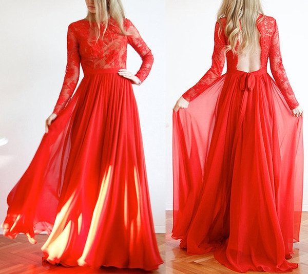 Simple Backless Long Sleeve Red Prom Party Dresses 2020 30D Chiffon Jewel See Though Top Draped Evening Formal Gowns Special Occasion Dress