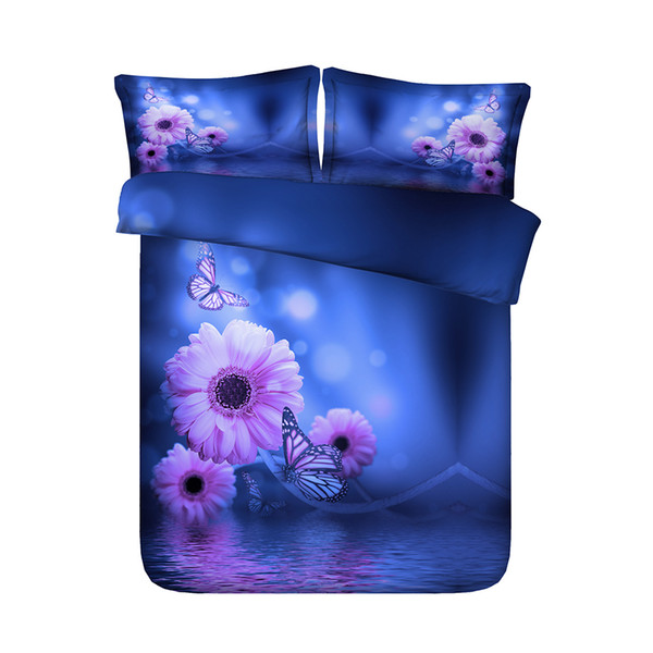Floral bedspread Pink Flower Colorful Butterfly Duvet Cover Set 3 Piece Comforter Cover With 2 Pillow Shams Blue Purple Galaxy Starry