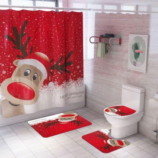 4 Adet / Lot Noel geyiği Baskı Duş Perde 13 Noel Tuvalet Kapak Yatak Kaymaz Taban Paspas Tasarımları