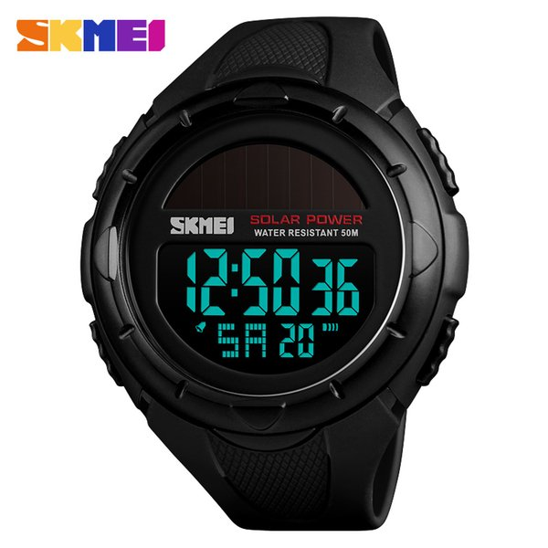 SKMEI Solar Power Watch Outdoor Sports Mens Wristwatch Luminous Digital Watch Chrono 50M Waterproof Watch Relogio Masculino 1405