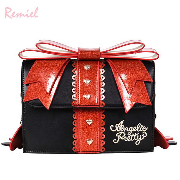 Корейская модная женская квадратная сумка 2019 Новое качество искусственная кожа женская дизайнерская сумочка с большим бантом на плечо с цепочкой