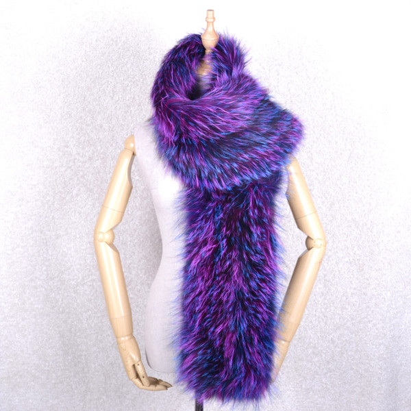 Winter Genuine Real Fox Fur Hand Knitting Scarf Scarfs Women's Muffler Wraps Knitted Snood Warm Soft Multi-colored