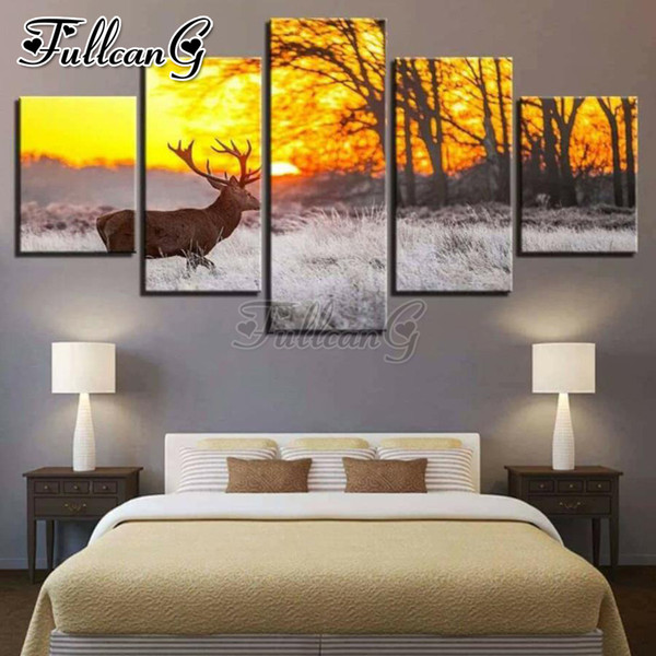 wholesale 5 piece diy 5d diamond painting deer animal & sunset glow full square/round drill mosaic embroidery picture FC835