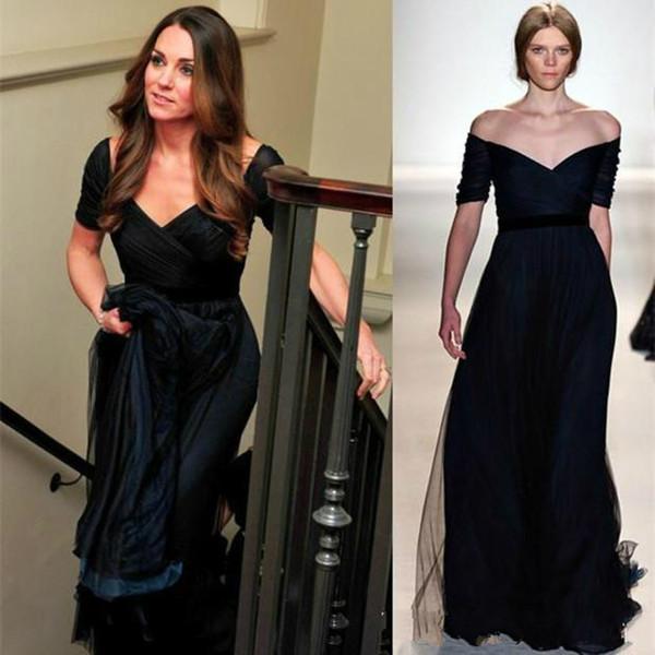 zuhair murad Dress Jenny Packham Kate Middleton Navy Blue Chiffon Evening Formal Dresses Short Sleeves Red Carpet Celebrity Prom Party Gowns