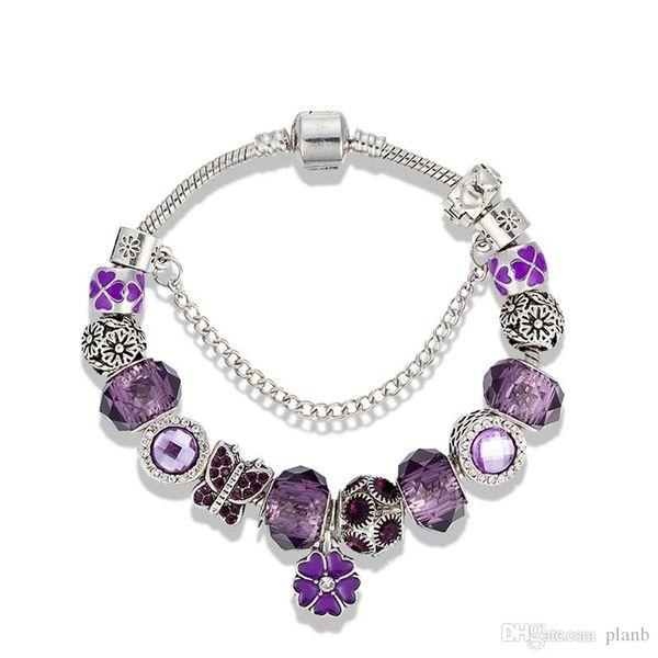 2019 UHotstore Free hot Purple crystal Charm 3 mm Snake Chain Bracelet Original logo European Beads Charms Bracelet Gift Jewelry for Women
