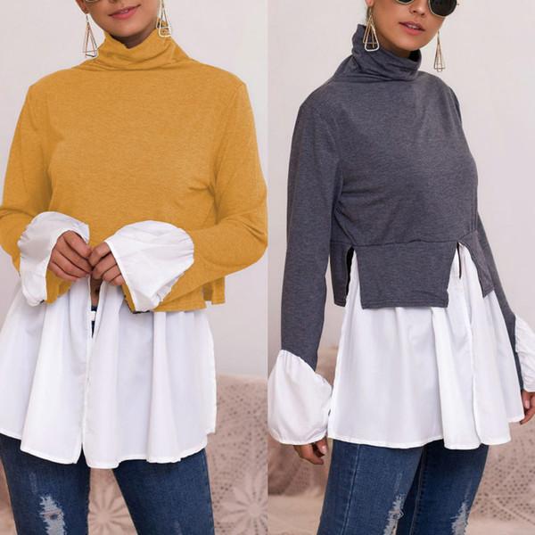 Kadınlar Dikiş Gömlek Bluz Düzensiz Ruffled Yüksek Yaka Uzun Kollu Casual H9 Tops