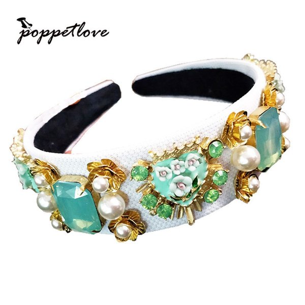 New Trend Baroque Luxury Velvet Crown Crystal Flower Hair Band Hair Jewelry Accessories Wedding Party Tiara Pearl Headband Gifts Y19051302