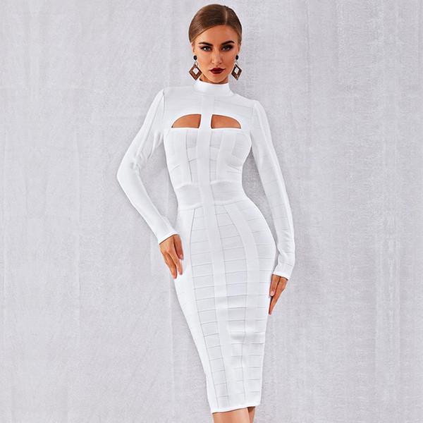 Hiver femme élégante Party Celebrity robe moulante Bandage blanche à manches longues O-Neck évider Club de Nuit Sexy Robes