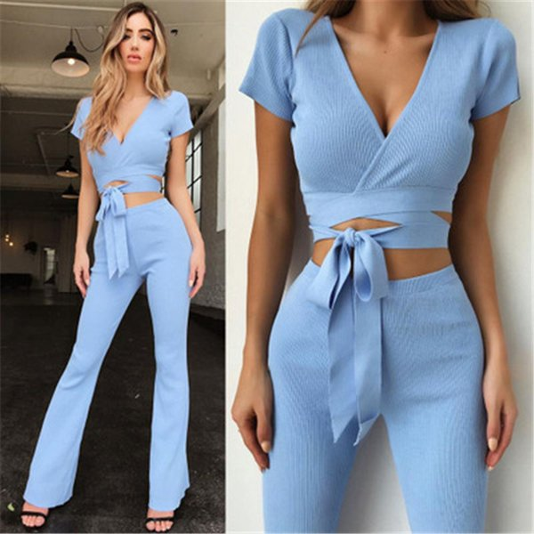 Women's Casual Set Sexy Deep V-neck Short Sleeve Strap Short Cropped Tops Slim Flare Pants Set Street Hipsters Women's Clothing
