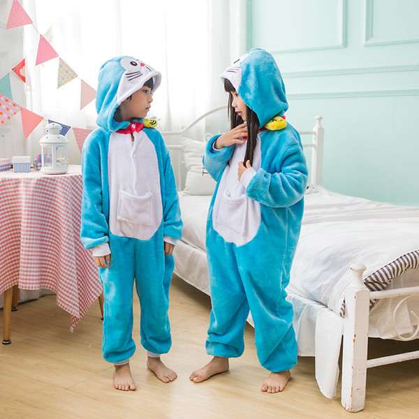 Lovely Machine Cat Cartoon Adult And Kids Winter Pajamas Anime Costume Flannel Cosplay Pyjamas Halloween Carnival Jumpsuit Masquerade Onesie