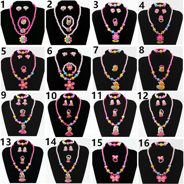 best selling New 10pcs lot Children's Jewelry Set Chain Plastic Cartoon Set Four pieces Jewelry Set Bead Bracelet Earrings Ring Necklace Jewelry