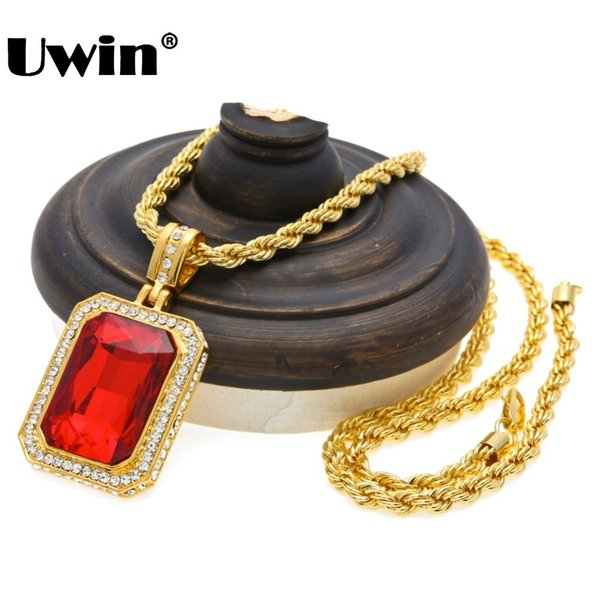 Men's Trendy Iced Out Hip Hop Pendant Necklace Jewelry Gold Color Red Big Square Stone Pendant With Thick Rope Chain Necklace