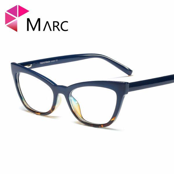 MARC Clear lens 2019 Frame Occhiali da vista Cat eye Moda Donna Occhiali quadrati Resina Occhiali trasparenti Leopard Purple 95175 1