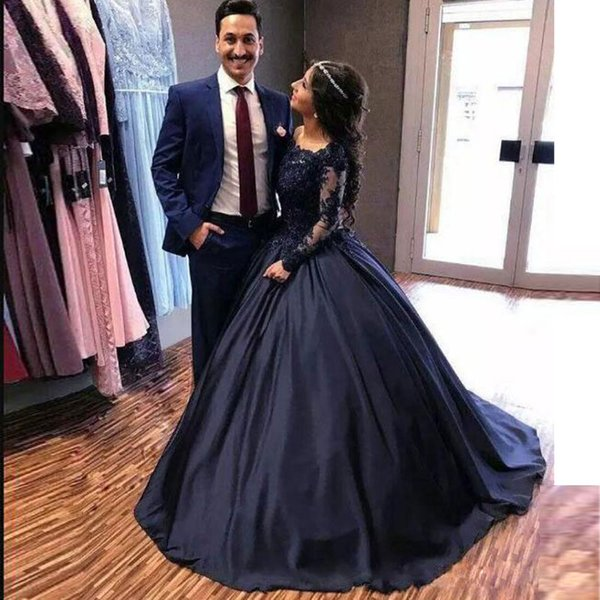 Navy Blue Ball Gown Lace Prom Dresses Off The Shoulder Beaded Long Sleeves  Princess Party Dress Sweep Train Satin Plus Size Evening Gowns Boutique ...