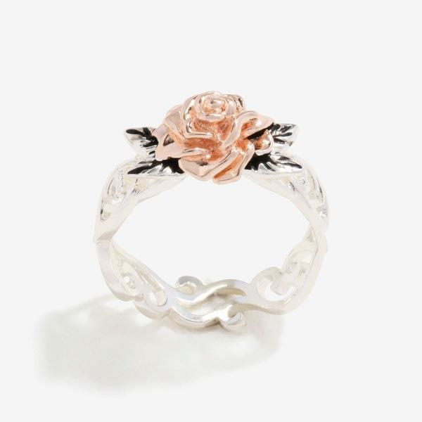 Top quality Rose flower finger rings for women Simple Silver Rose gold color plant jewelry Girls party ring size 4-12 Bague Anel