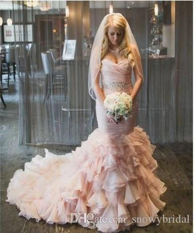 2019 New Mermaid Blushing Pink Wedding Dresses With Color Pleated Bodice Corset Back Beaded Belt Ruffles Skirt Non White Bridal Gowns Custom