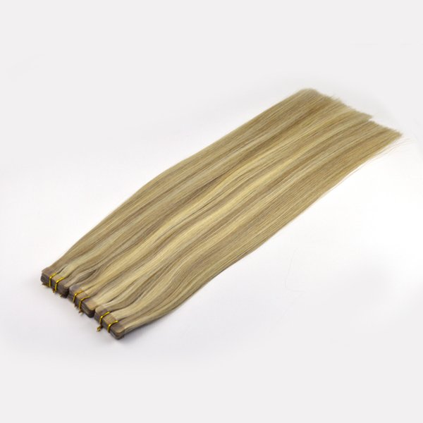 Best 10A Two Tone Tape in Hair Extensions Dark Ash Blonde Highlighted with Golden Blonde Piano Color Extensions 20 inch PU Tape Hair