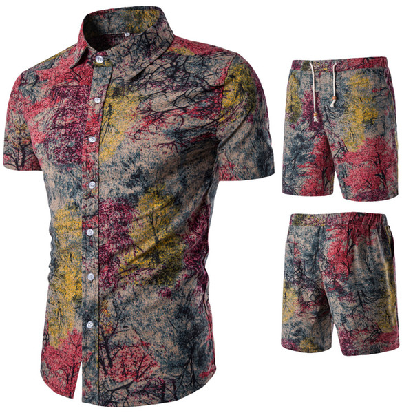 plus size Summer Folk Style Fashion Floral Shirt Men's Sets Casual Shirts Suits Tops with Short Short Sleeve Single Breasted Suit 5XL