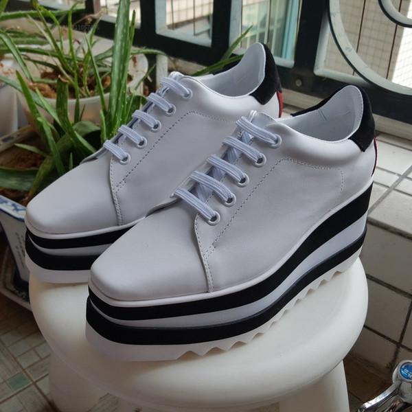 Zapatos reales! Tamaño grande 40 Zapatos de lujo de cuero genuino Zapatos Stella Britt Elyse Cepillado Plataforma informal Derbys Wedge Zapato plano