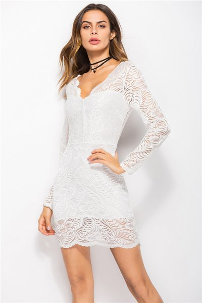 Fashion Cool Dress Spring and Antumn New Sexy Deep V-neck Lace Dress Evening Dress for Women Lady Female