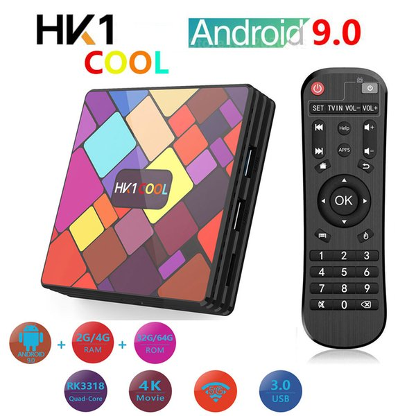 best selling 2020 newest TV Box Android 9.0 HK1 Cool RK3318 Quad Core 4G 32G 64G Set Top Box HD 4K Bluetooth for Smart TV