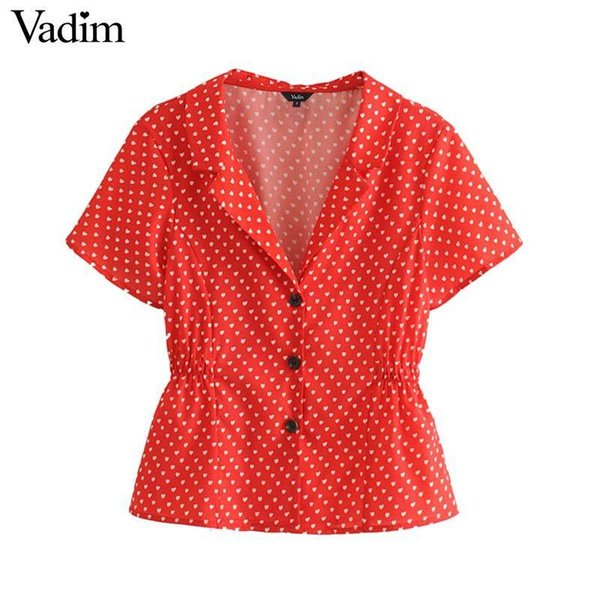 8cac746373d677 Vadim women stylish V neck print blouse buttons short sleeve elastic waist  shirts casual female chic