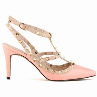 Seksi Sivri Burun Med Yüksek Topuklu Yaz Bayan Düğün Moda Toka Çivili Stiletto Yüksek Topuk Sandalet Ayakkabı D00791