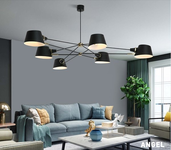 Nordic living room chandelier modern simple 3/6 PCS E27 bulb balck dining room lights American cafe dress room creative LED lamp LLFA
