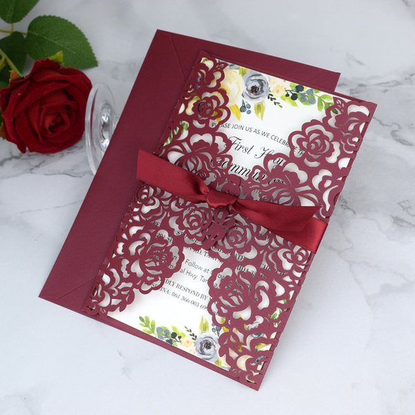 top popular Marsala Burgundy Laser Cut Quinceanera Invites with Ribbon 20+Color Floral Printing Invitations for Engagement Anniversary Party Event Cards 2021