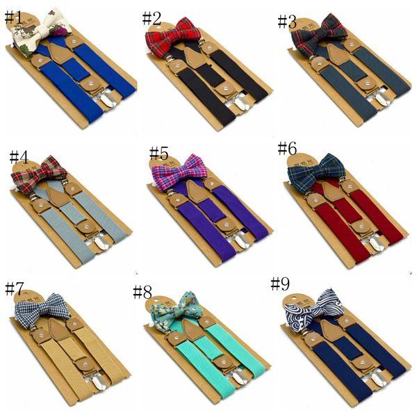 Conjunto de corbata de moño con tirantes para niños Cinturón ajustable con respaldo en Y Cinturones con clip para niños Traje de esmoquin para niño Accesorios a juego 15 colores opcionales
