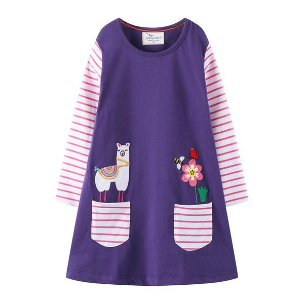 America Pocket Striped Floral Animal Bird vetements pour enfants Kids Girls Dress Children Girls Knee-length A-line Cotton Baby Girls Dress