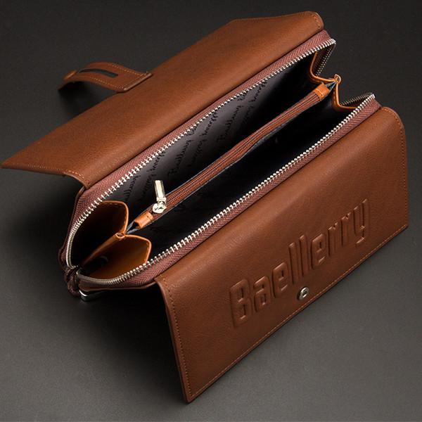Baellerry Men Purses Big Wallet Men Coin Purse Business Male Zipper Clutch Bag Leather Wallets Brand Long Phone Bag Money Wallet Y19052104