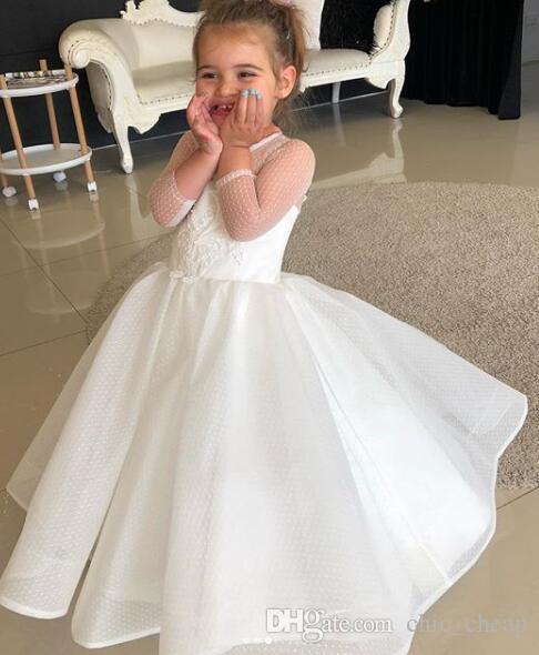 Кружева из бисера Цветы Платья для девочек-цветочков с открытой горловиной и длинными рукавами Свадебные платья для девочек Винтажные платья-платья