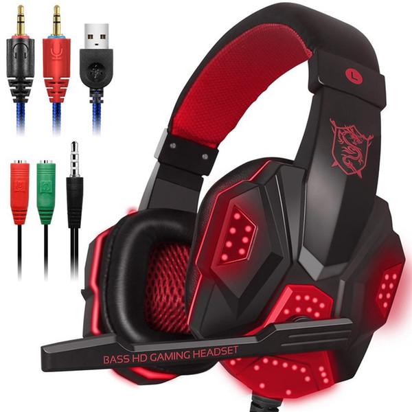 Luzes LED Gaming Headset para PS4 PC Xbox um Stereo Surround Sound Com Cancelamento de Ruído Wired Gamer Fones De Ouvido Com Microfone auriculares