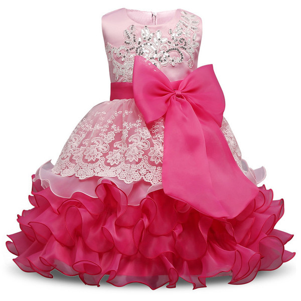 2018 New Summer Girl Dress Wedding Birthday Kids Party Wear Brand Toddler Ball Gown Baby Baptism Clothes For Girls 10 Yrs J190611