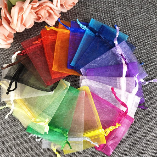 50Pcs Organza Gift Bags Jewelry Bags Packing Drawable 7x9 9x12 10x15 11x16 13x18 Sachet Organza For Wedding/Communion Decor 5z